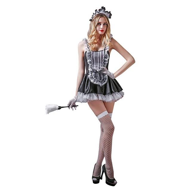 ازياء خادمة للبالغين نسائي أزياء Cosplay ملابس من أجل البوليستر Elastane حفلة تنكرية فستان قفازات جوارب أغطية الرأس ثونج