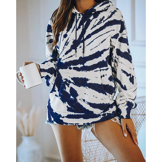 Dames Trui met capuchon Afdrukken Basic Informeel Hoodies Sweatshirts blauw Rood