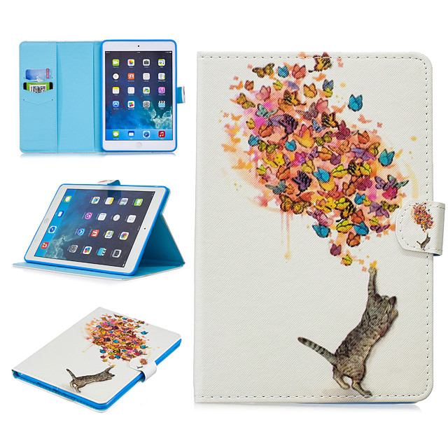 Case For Apple iPad Air / iPad 4/3/2 / iPad (2018) Card Holder / Shockproof / Pattern Full Body Cases Animal PU Leather / TPU / iPad Pro 10.5 / iPad (2017)