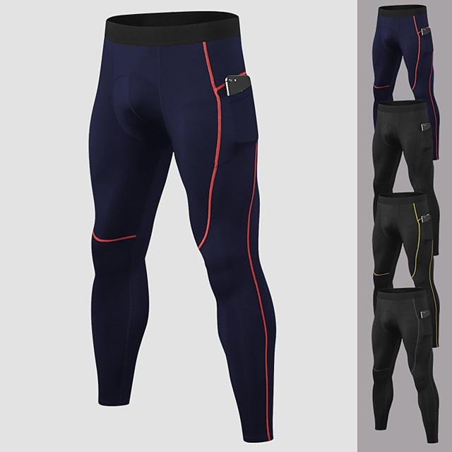 YUERLIAN Per uomo Pantaloni Pantaloni a compressione Sportivo Livello Base Pantaloni con tasca per telefono Elastene Fitness Allenamento in palestra Esibizione Corsa Addestramento Traspirante