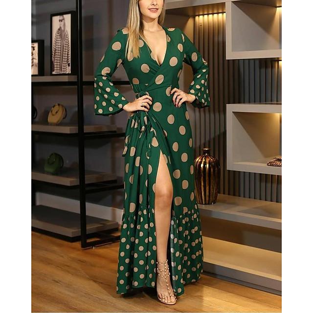 Dames Strakke jurk Maxi-jurk Lange mouw Print Opdruk Herfst heet Informeel 2021 Zwart blauw Khaki Klaver Beige S M L XL XXL 3XL