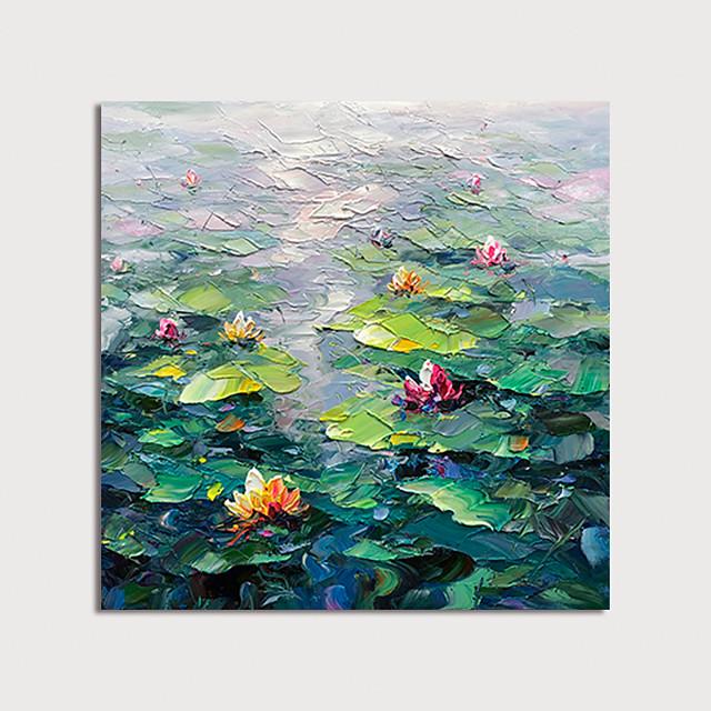 Hang-geschilderd olieverfschilderij Handgeschilderde Vierkant Abstract Bloemenmotief / Botanisch Modern Inclusief Inner Frame