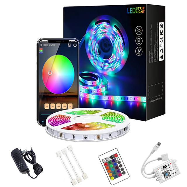 led bande lumières wifi 32.8ft 10m app contrôle wifi intelligent 5050 rgb (1 * 10m) led bande douce avec contrôleur ir 24 touches pour l'éclairage domestique de bricolage