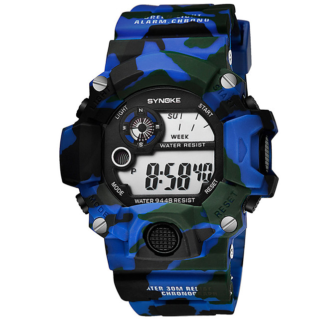 Voor heren Digitaal horloge Digitaal Moderne Style Cool Kalender Digitaal blauw Rood Klaver / Silicone / Chronograaf / s Nachts oplichtend / Grote wijzerplaat