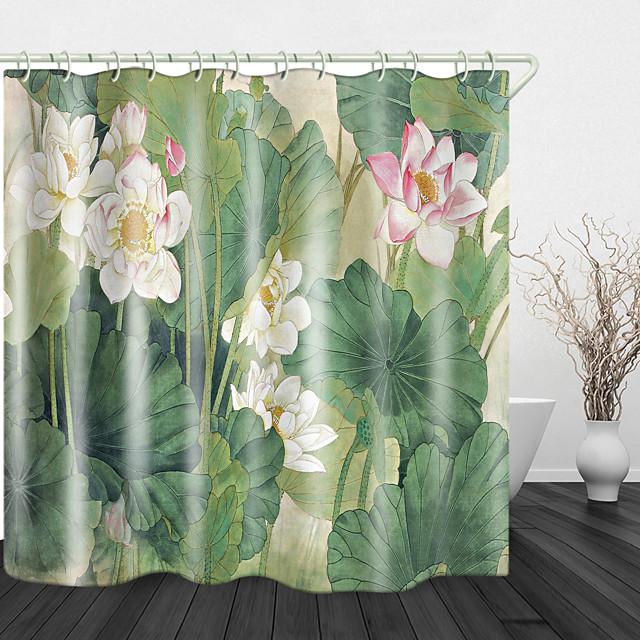 Floraison belle lotus impression numérique rideau de douche en tissu imperméable pour salle de bain décor à la maison rideaux de baignoire couverts doublure comprend avec crochets