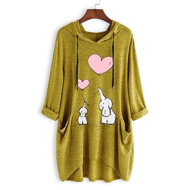 Dames Sweatshirt met capuchon dier Voorvak Dagelijks Andere prints Basic Hoodies Sweatshirts Ruimvallend Oversized Lang blauw Geel Blozend Roze