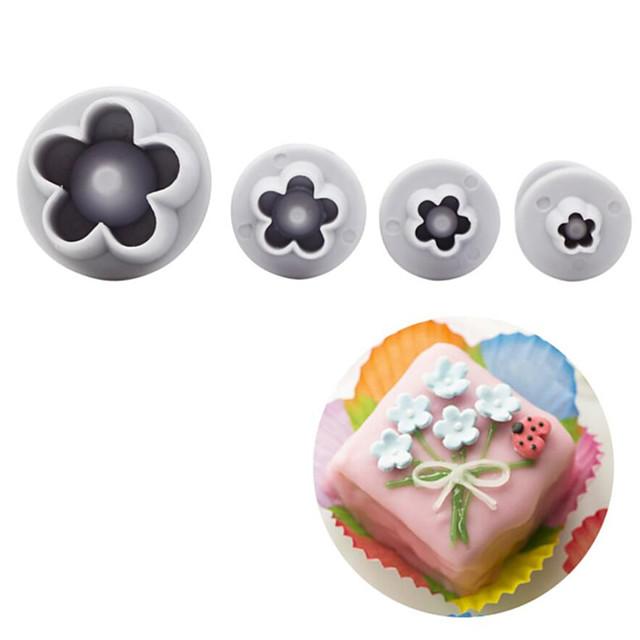 4stk / sæt blomme blomst blomster stemplet fondant cutter sukkercraft kage dekorationsværktøjer
