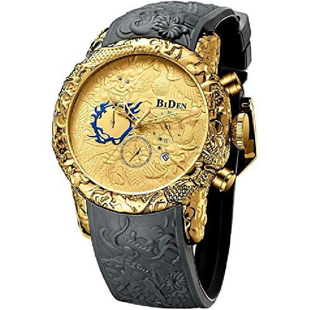 herenmode grote wijzerplaat 3d sculptuur draak horloges mannen quartz horloges luxe prachtige creatieve horloge (grijs goud)