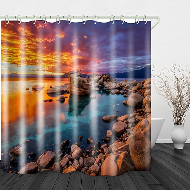 récif de bord de mer sous les rideaux de douche coucher de soleil rouge& crochets modernes en polyester nouveau design