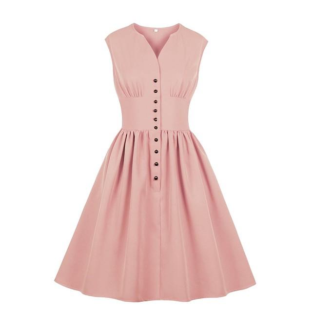 Women's Swing Dress Knee Length Dress Blue Yellow Blushing Pink Orange Red Light Blue Sleeveless Solid Color Print Summer V Neck Hot Elegant 2021 S M L XL XXL 3XL 4XL