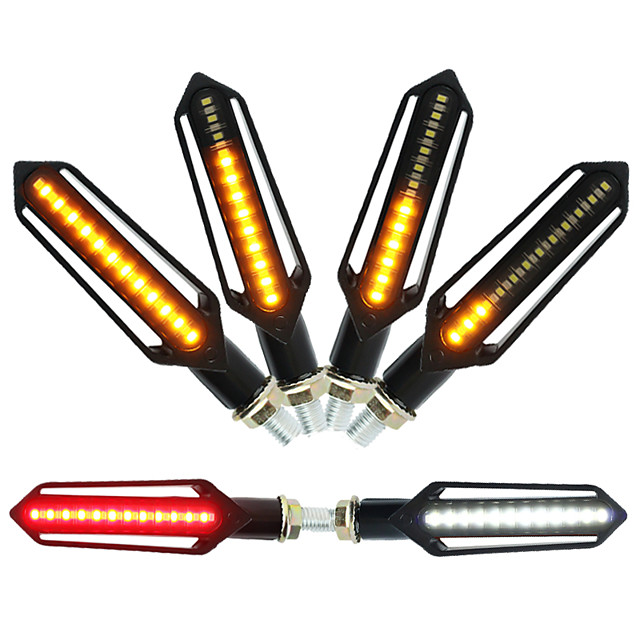2 יחידות אותות תור אופנוע זנב אור led זורם מהבהב מהבהב בלם / אור רץ drl מנורת זנב נצנץ להונדה