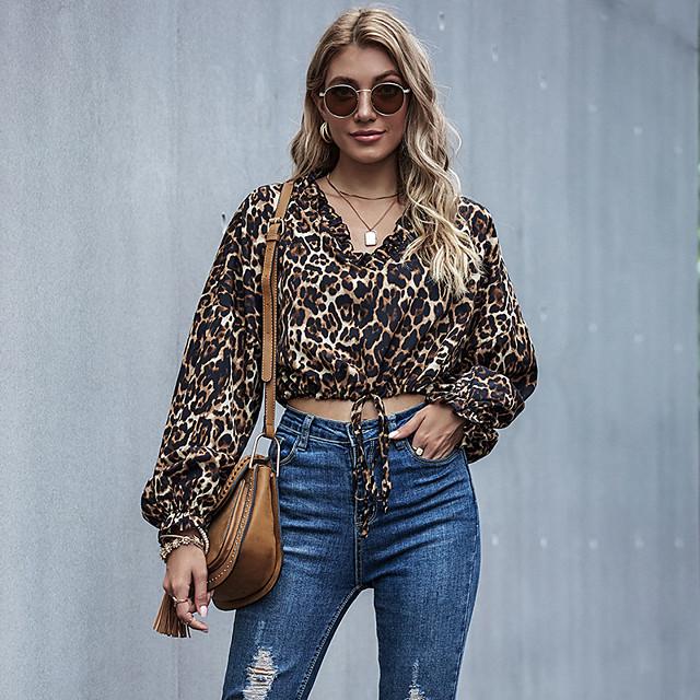 Dames Blouse Overhemd Luipaard Jachtluipaardprint Lange mouw Strik Geplooid Patchwork V-hals Tops Basic Basis Top Bruin