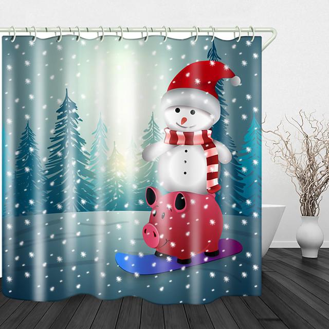 Kerstmissneeuwman rood varken skateboard digitaal printen douchegordijn douchegordijnen& haken modern polyester nieuw ontwerp