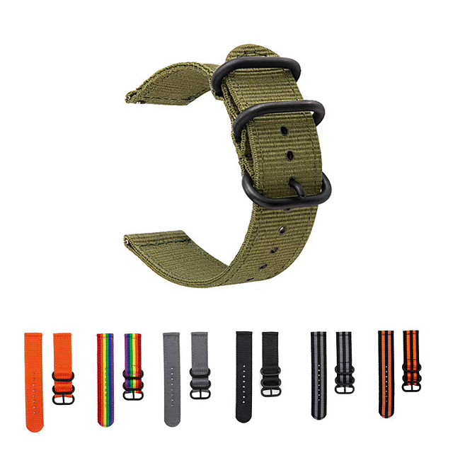 حزام ساعة عصري مقاس 20 ملم من النايلون أسود 3 حلقات بإبزيم لـ Vivoactive3 / Vivomove HR Sport / Vivomove / Forerunner245 / Forerunner645 حزام معصم من النايلون