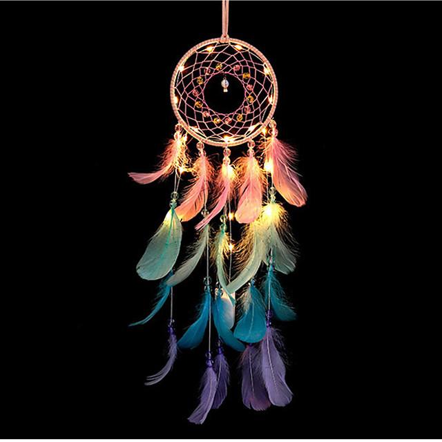 dreamcatcher led plume coloré veilleuse à la main carillon de vent ornements vacances noël événements de mariage décoration saint valentin anniversaire cadeau romantique