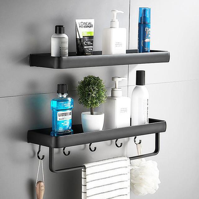 30cm cuisine salle de bain étagère baignoire douche étagère aluminium noir salle de bain étagère d'angle mural noir aluminium support de rangement de cuisine