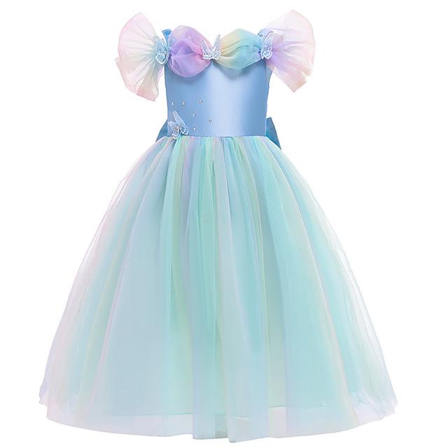 Księżniczka Sukienka Kostium imprezowy Sukienka Flower Girl Dla dziewczynek Kostiumy z filmów Księżniczka Jasnoniebieski Sukienka Dzień Dziecka Bal maskowy Poliester