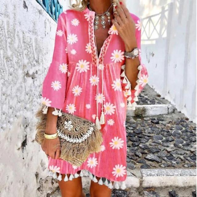 Dames Swingjurk Mini-jurk Lange mouw Print Kwastje Opdruk Zomer heet Informeel Boho Flare mouwen 2021 Blozend Roze S M L XL XXL 3XL 4XL