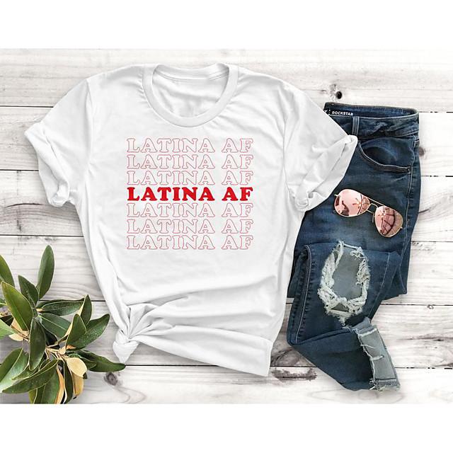 Dames T-shirt Grafische prints Letter Opdruk Ronde hals Tops Slank 100% katoen Basic Basis Top Wit Zwart Rood