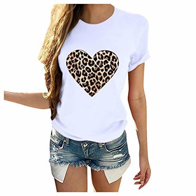 Dames T-shirt Hart Luipaard Jachtluipaardprint Opdruk Ronde hals Tops 100% katoen Basic Basis-top Wit