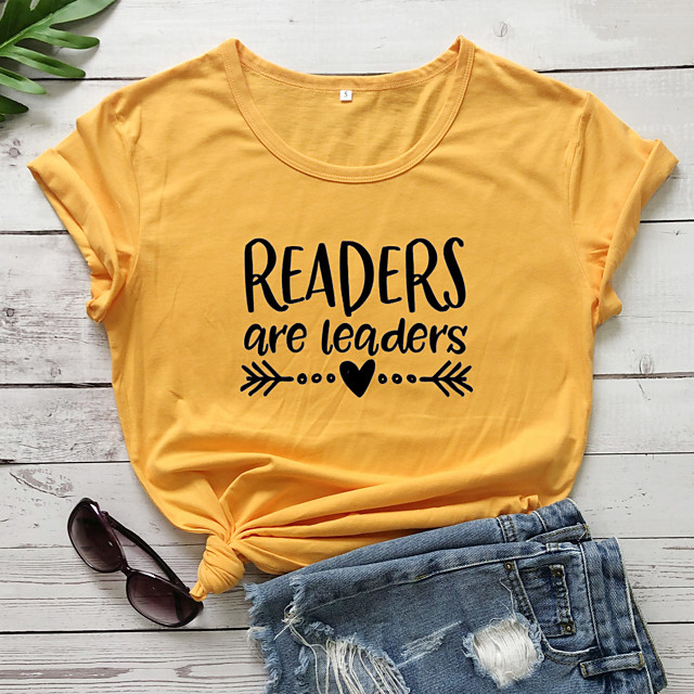 Dames T-shirt Grafische prints Letter Opdruk Ronde hals Tops Slank 100% katoen Basic Basis Top Wit Zwart Paars