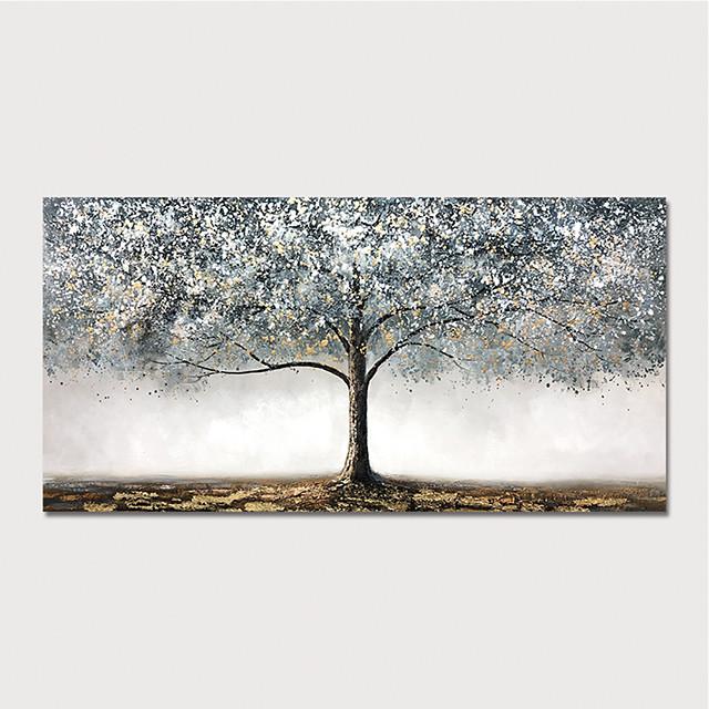Hang-geschilderd olieverfschilderij Handgeschilderde Horizontaal Abstract Bloemenmotief / Botanisch Modern Inclusief Inner Frame