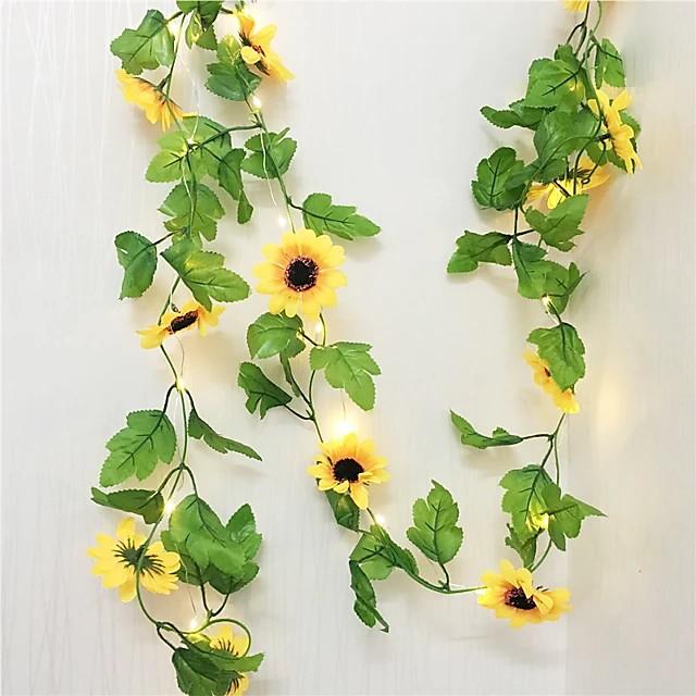 30LED 2.4 متر الاصطناعي عباد الشمس جارلاند الحرير وهمية الزهور نباتات أوراق اللبلاب ديكور المنزل زهرة الجدار إكليل