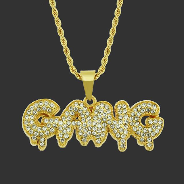 Pánské Kubický zirkon Náušnice Náhrdelník Patchwork Přátelé Hip Hop Slitina Zlatá Stříbrná 75 cm Náhrdelníky Šperky 1ks Pro Street Festival