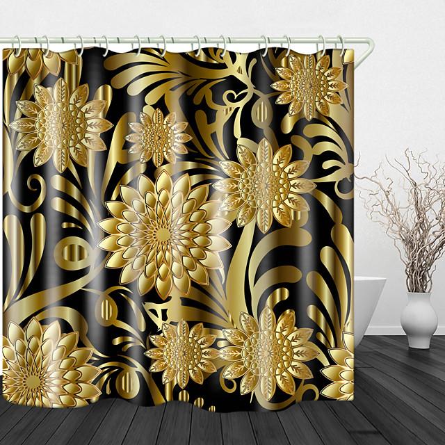 أنيقة ونبيلة الزهور الذهبية الطباعة الرقمية للماء ستارة الحمام ستارة للحمام ديكور المنزل مغطاة ستائر حوض الاستحمام تشمل مع السنانير