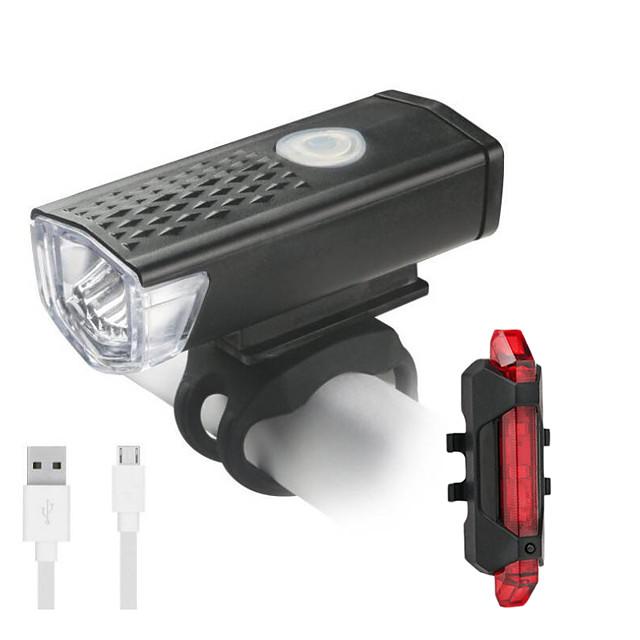 LED Luci bici Luce frontale per bici Luce posteriore per bici LED Bicicletta Ciclismo Impermeabile Rotazione a 360° Ruotabile Portatile Litio-polimero 300 lm Batteria ricaricabile Bianco Campeggio
