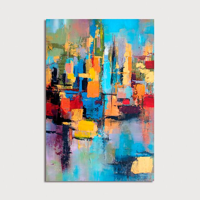 Hang-geschilderd olieverfschilderij Handgeschilderde Verticaal Abstract Modern Inclusief Inner Frame