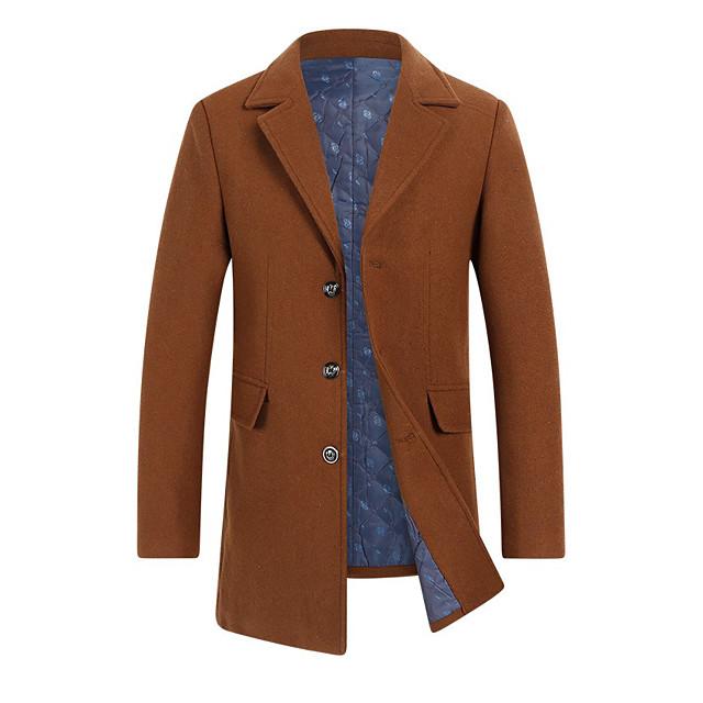 Voor heren Overjas Dagelijks Herfst winter Lang jas Normale pasvorm Basic Jacks Lange mouw Effen Wijn Khaki / Wol