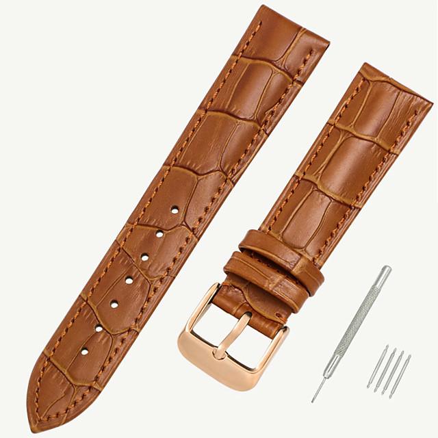 couro legítimo / Pele / Pêlo de Bezerro Pulseiras de Relógio Preta / Marrom 17 cm / 6,69 polegadas / 18 cm / 7 polegadas / 19 cm / 7,48 polegadas 1,2 cm / 0,47 polegadas / 1,4 cm / 0,55 polegadas