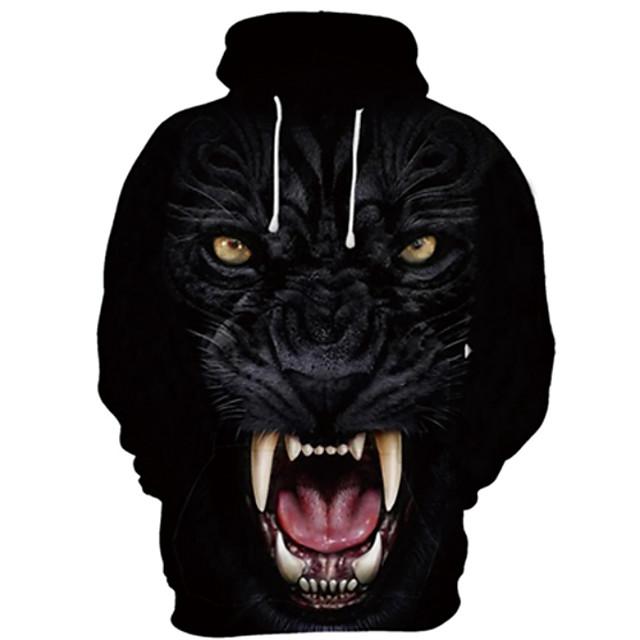 Voor heren Trui met capuchon Tekenfilm 3D Wolf Evenement / Feest Festival 3D-afdrukken Basic Informeel Hoodies Sweatshirts Zwart en Wit Zwart / Wit Zwart