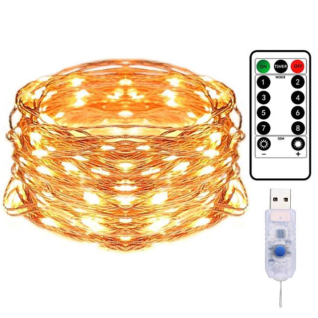 10m 100led fil de cuivre guirlande lumineuse plug-in USB guirlandes avec télécommande 8 modes lumières étanche télécommande minuterie Noël mariage anniversaire famille salle de fête décoration de la