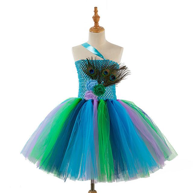 Kinderen Voor meisjes Vintage leuke Style Patchwork Halloween Regenboog Patchwork Mouwloos Tot de knie Nylon Jurk blauw