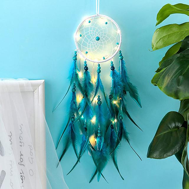 Dreamcatcher LED Feather Night Light ของขวัญคริสต์มาสทำด้วยมือเครื่องประดับกระดิ่งลมวันหยุดคริสต์มาสงานแต่งงานของตกแต่งของขวัญวันเกิดวันวาเลนไทน์