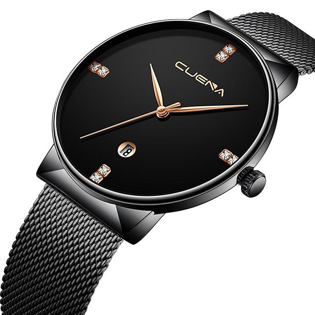 Voor heren Dress horloge Kwarts Stijlvol Informeel Kalender Analoog Zwart / Zilver Black + Gloden Wit + gouden / Een jaar / Titaniumlegering