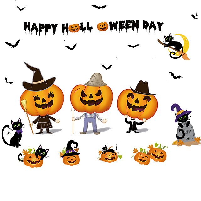 Halloween Party speelgoed Venster Sticker Muurstickers Halloween Window Clings Halloween muur stickers 2 pcs Pompoen Cartoon Vleermuis PVC Kinderen Volwassenen Trick or Treat Halloween-feestartikelen