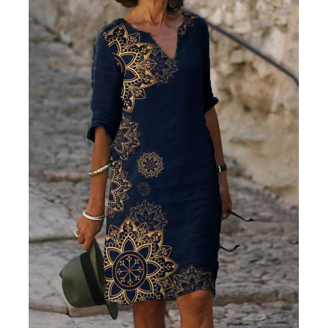 Femme Robe Droite Robe Longueur Genou Bleu Demi Manches Fleurie Imprimé Eté Col en V chaud Elégant robes de vacances 2021 M L XL XXL 3XL
