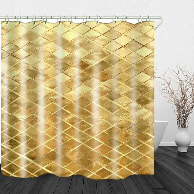 Golden Plaid Background Pattern Digital Print Waterproof Shower Curtain for Bathroom Decor Polyester Bathtub Curtain with Hooks 1pc