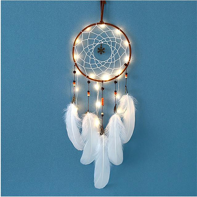 LED lumières carillon à vent dreamcatcher net avec plumes perle décoration de fête de mariage capteur de rêves tenture murale maison voiture ornement cadeau
