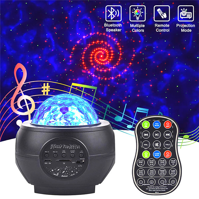 Projecteur de ciel étoilé LED haut-parleurs USB veilleuse lampe de projection de ciel étoilé coloré romantique avec lampe de fête télécommandée