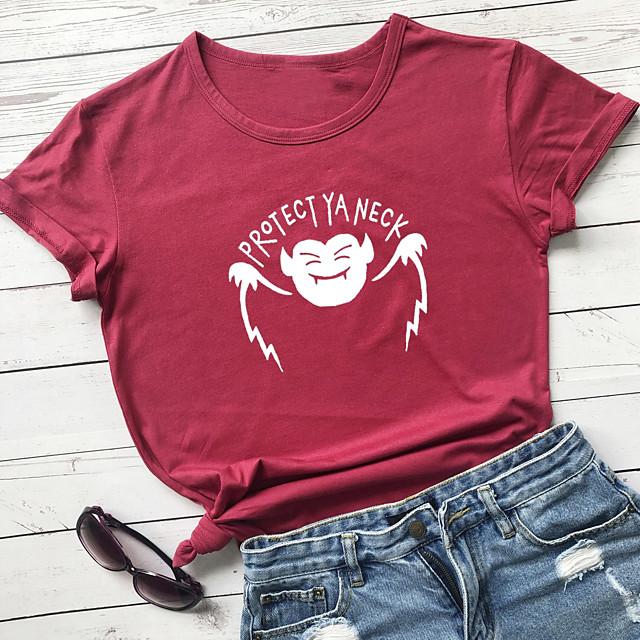 Dames Halloween T-shirt Grafische prints Letter Opdruk Ronde hals Tops 100% katoen Basic Halloween Basis Top Wit Zwart Paars