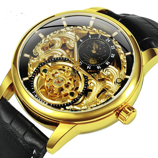WINNER Voor heren mechanische horloges Automatisch opwindmechanisme Sportief Informeel Hol Gegraveerd Analoog Black + Gloden / Twee jaar / Leer / Twee jaar