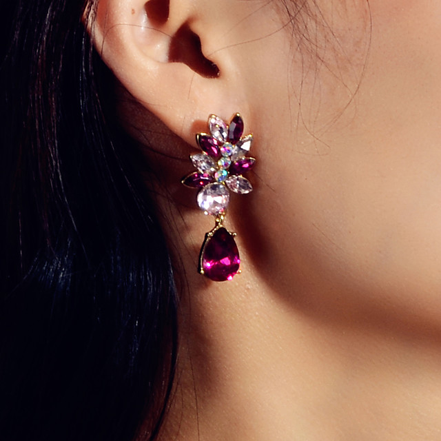 Dames Kristal Druppel oorbellen Zin in hebben Romantisch oorbellen Sieraden Paars Voor Feest / Avond Afspraakje