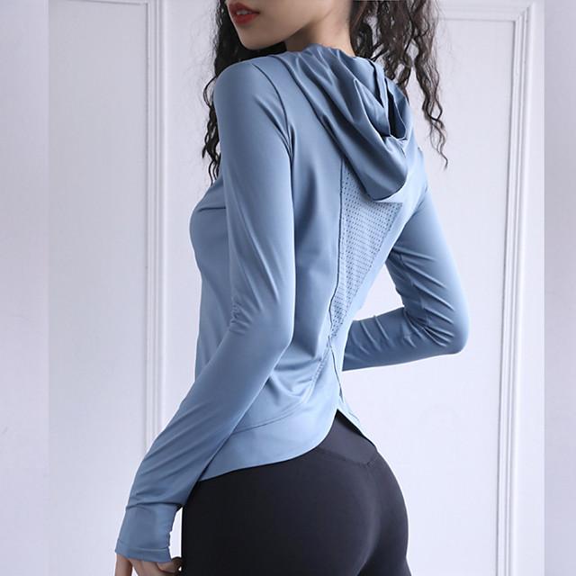 Dames Yoga Top Duimopening Modieus Zwart Rood Blauw Yoga Fitness Hardlopen Trui met capuchon Kleding Bovenlichaam Lange mouw Sport Sportkleding Ademend Vochtregelerend Comfortabel Rekbaar