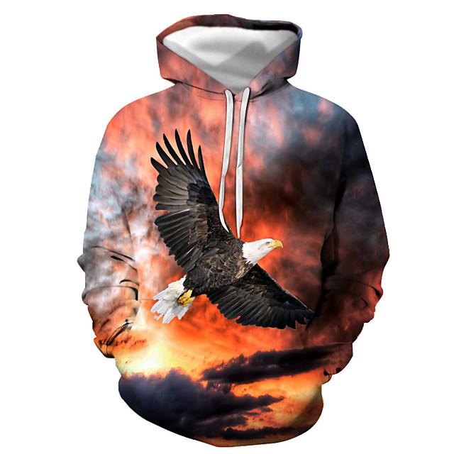 Voor heren Sweatshirt met capuchon Grafisch dier Capuchon Dagelijks Uitgaan 3D-afdrukken Basic Informeel Hoodies Sweatshirts Oranje