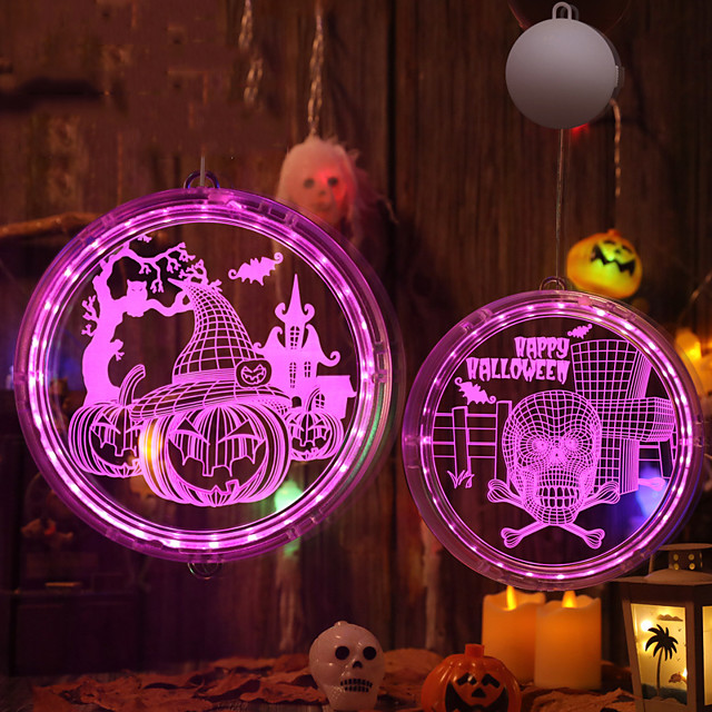 Halloween Party speelgoed LED-verlichting Verlichtingsslingers 2 pcs Skull Skeleton Pompoen Spinnen 3D Hangend Muovi Kinderen Volwassenen Trick or Treat Halloween-feestartikelen