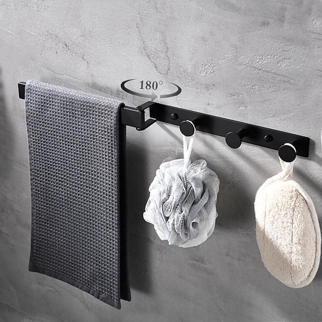 Porte-serviettes rotatif multifonctionnel avec 3 rangées de crochets en acier inoxydable mural pour salle de bain 1pc
